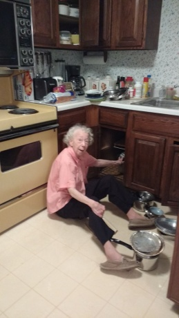 Mom organizing pots and pans April 2016